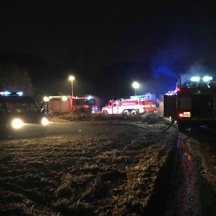 Požár chaty v Hostěradicích - 22. 12. 2018