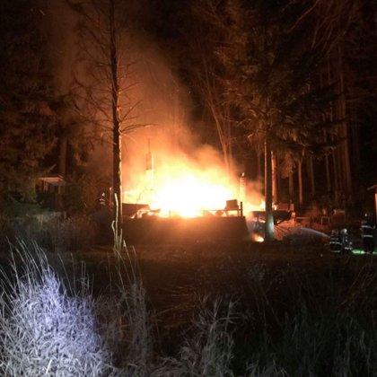Požár chaty na Posázavské stezce - 22. 12. 2018
